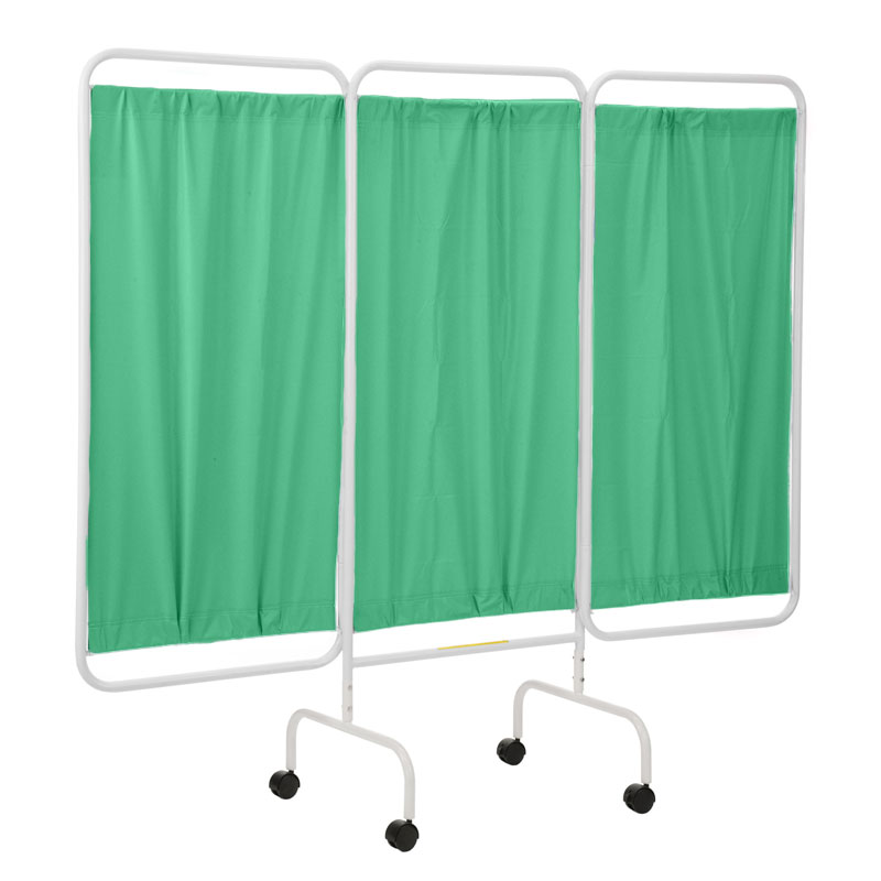 R&B Wire Portable Three Panel Patient Privacy Screen - Green Vinyl