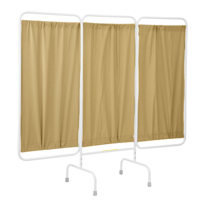 Beige Vinyl 3 Panel Privacy Screen
