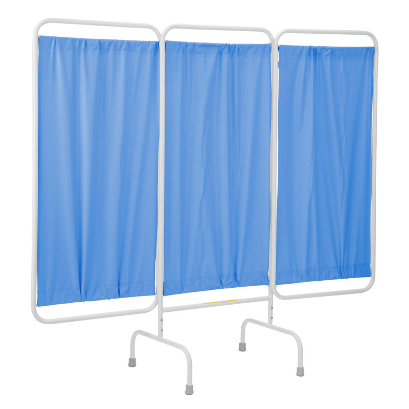 R&B Wire Stationary Three Panel Patient Privacy Screen - Blue Vinyl Panels