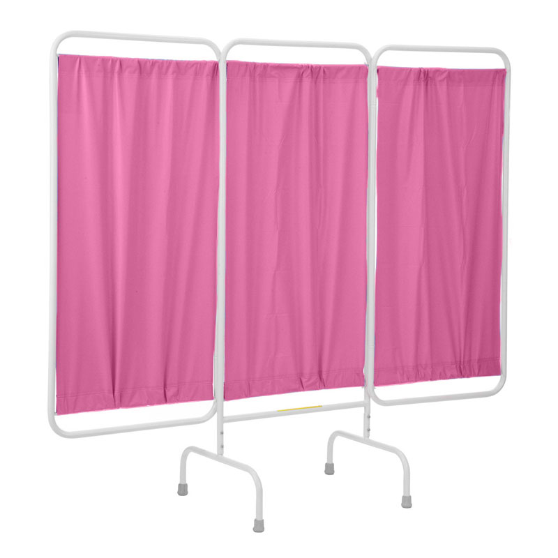 R&B Wire Stationary Three Panel Patient Privacy Screen - Pink Vinyl Panels