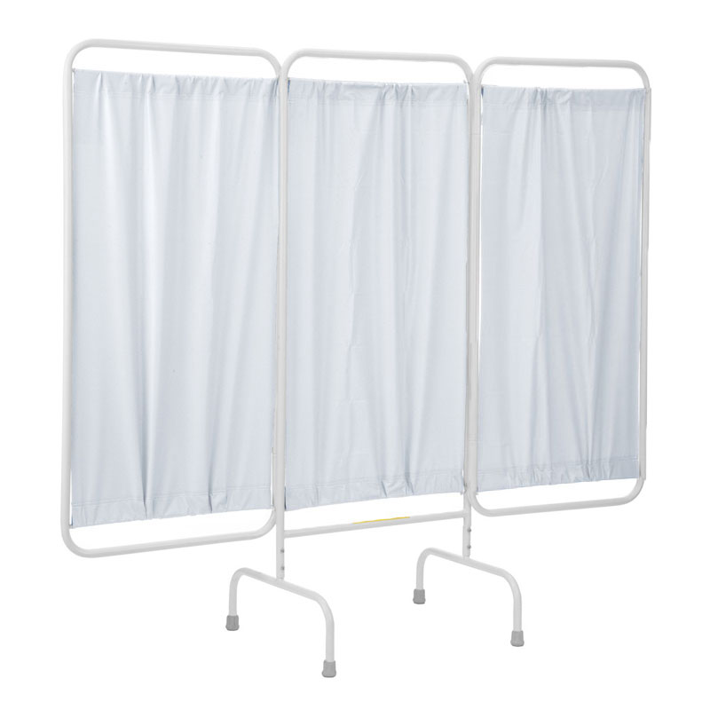 R&B Wire Stationary Three Panel Patient Privacy Screen - Vinyl Panels