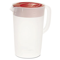 Rubbermaid Plastic Three-Way-Lid Pitcher, 1gal, Red Lid 1777155