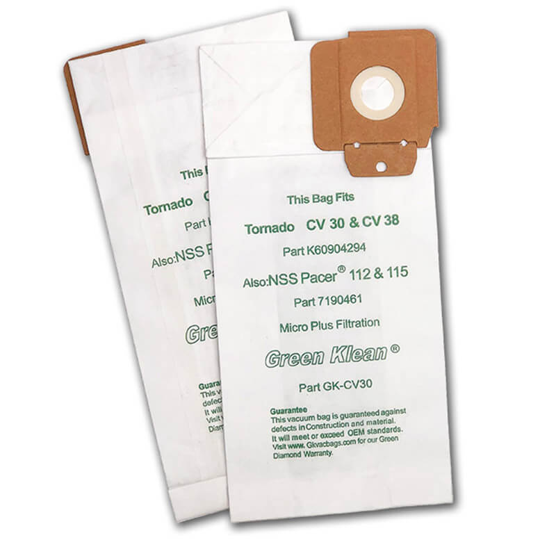 Green Klean K60904294 Tornado CV30 & CV38 12 & 15 Micro Plus Replacement Filter Bag - 10 Pack