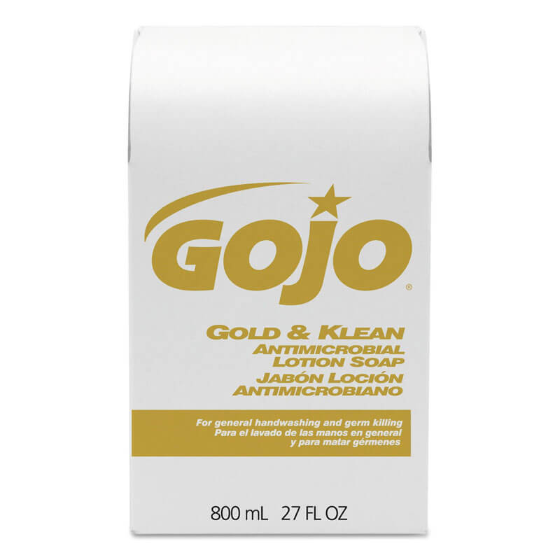 GOJO® Gold & Klean Antimicrobial Lotion Soap - (12) 800 ml Bag Refills