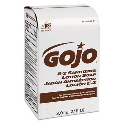 GOJO® E-2 Sanitizing Lotion Soap - (12) 800 ml Bag Refills