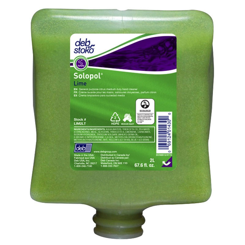 Solopol Lime Heavy-Duty Hand Cleanser - 2-Liter Cartridges