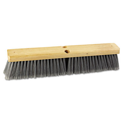 Proline Gray Flagged Polypropylene Floor Brush Push Broom - 18
