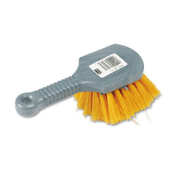 Rubbermaid Long Handle Scrub Brush w/ Yellow Bristles