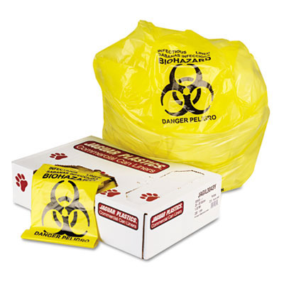 Jaguar Plastics Infectious Waste Commercial Can Liner - 20 Gallon Capacity - Yellow