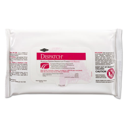 Dispatch Hospital Cleaner Disinfectant Towels w/ Bleach