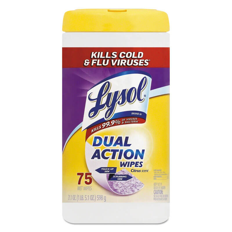 Dual Action Disinfecting Wipes, 7 x 8, 75/Can