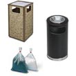 Commercial Ash Tray & Trash Can Combos Receptacles - Janitorial Waste Receptacles & Baskets
