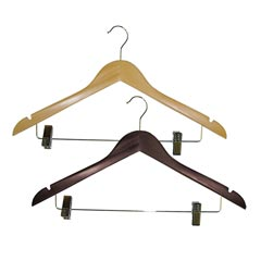 Homz [8657WAST2.18] Wooden Suit Hangers w/ Clips - 2 Pack