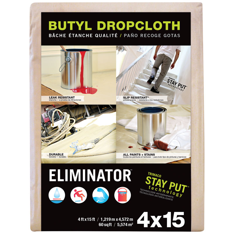 4' x 15' Eliminator Butyl-Back Canvas Drop Cloth