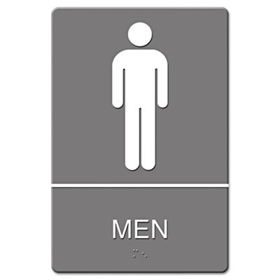ada sign men restroom symbol w/tactile graphic, plastic, 6 x 9