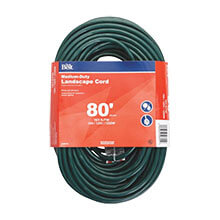 Medium-Duty Landscape Extension Power Cord - 16/3 - Green - 80' Long