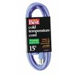 Cold Temperature Extension Power Cord - 16/3 - Blue - 15' Long