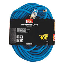 Cold Temperature Extension Power Cord - 12/3 - Blue - 100' Long