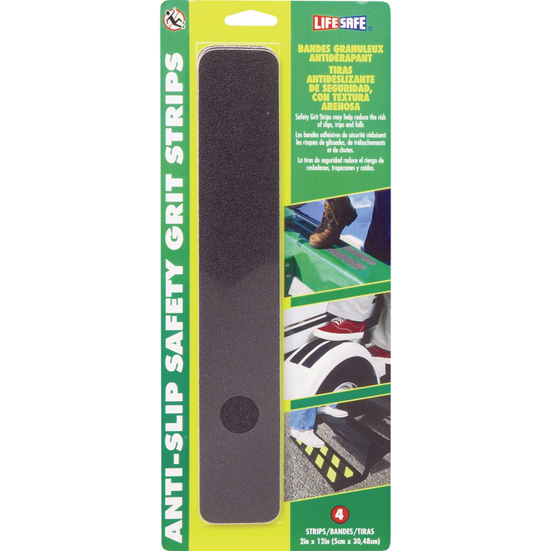 Life-Safe RE624BL Anti-Slip Safety Grit Strip - Black - (6) 2