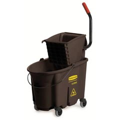 Rubbermaid [7580-88 BRO] WaveBrake® Mop Bucket Combo w/ Sideward Pressure Wringer - Brown - 35 qt.