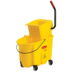 Rubbermaid [7580-88 YEL] WaveBrake® Mop Bucket Combo w/ Sideward Pressure Wringer - Yellow - 35 qt.