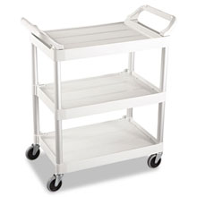 3-Shelf Service Cart, 200-lb Cap., 18 5/8w x 33 5/8d x 37 3/4h, Off-White