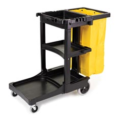 Rubbermaid [6173-88] Janitorial Cleaning Cart w/ Zippered Yellow Vinyl Bag - Black