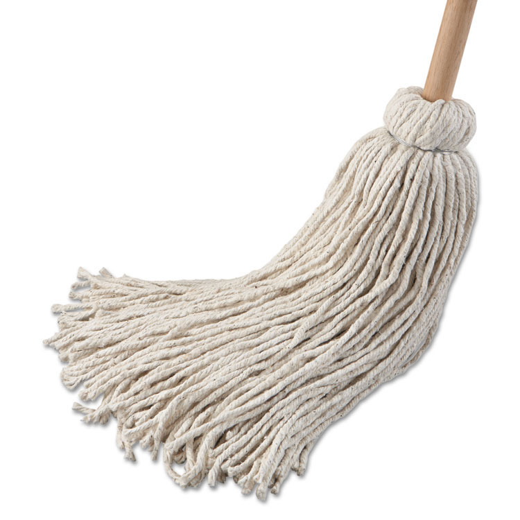 32 oz Cotton Fiber Deck Mop w/ 54 in. Wooden Handle - 6 Pack