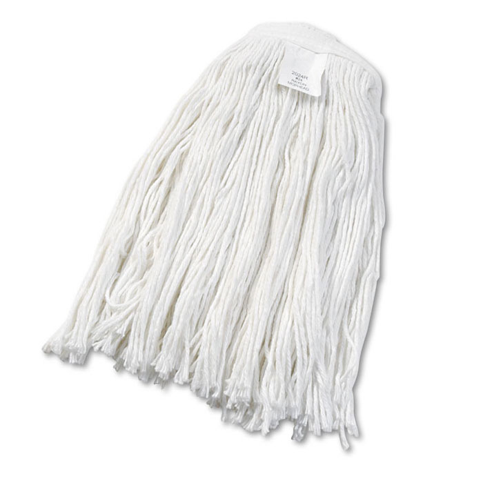 Cut-End Rayon Wet Mop Head, #24 Size, White - 12 Pack