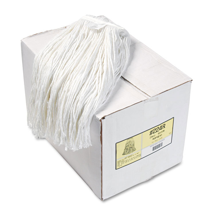 Premium Cut-End Rayon Wet Mop Heads - (12) 24 oz. Heads BWK224R