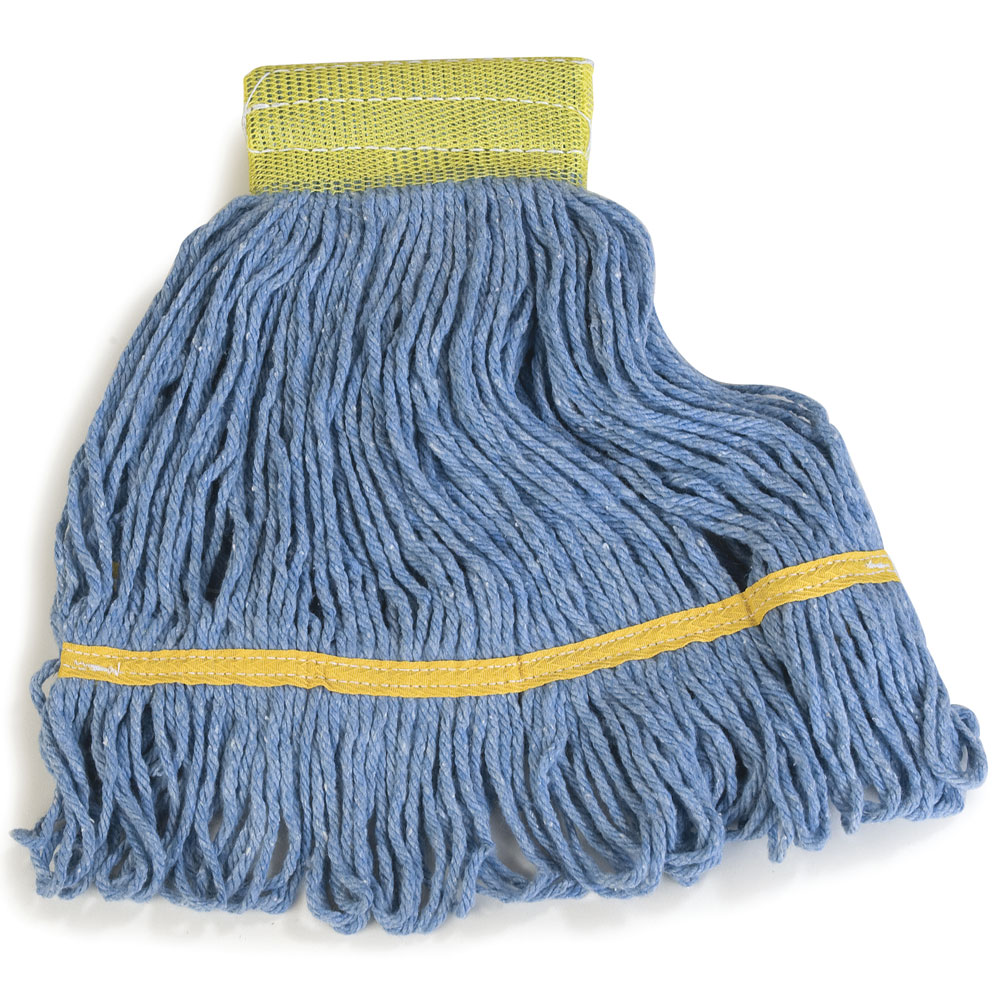 Flo-Pac Small Yellow Band Looped End Wet Mop - Blue