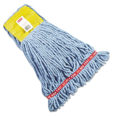 Web Foot Shrinkless Wet Mop Head, Cotton/Synthetic - Blue - Small RCPA251BLU