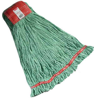 Web Foot Shrinkless Wet Mop Heads, Cotton/Synthetic - Green - Large RCPA253GRE