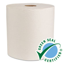 "8"" x 350 ft Green Universal Roll Towels, Natural White - 12 Rolls BWK14GREEN"