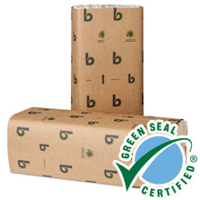 "Green C-Fold Paper Towels - Natural White - 10.13"" x 13"" - (16) 150 Towels BWK11GREEN"