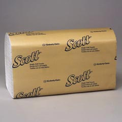 Kimberly Clark Scott® Singlefold Hand Towels - White Paper - 250 Towels per Pack KCC01700