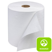 "7.80"" x 600 ft White Advanced Hardwound Roll Towels, 1-Ply - 12 Rolls SCARB600"