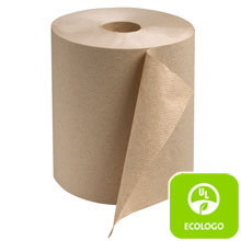 "7.80"" x 600 ft Natural Universal Hardwound Roll Towel, 1-Ply - 12 Rolls SCARK600E"