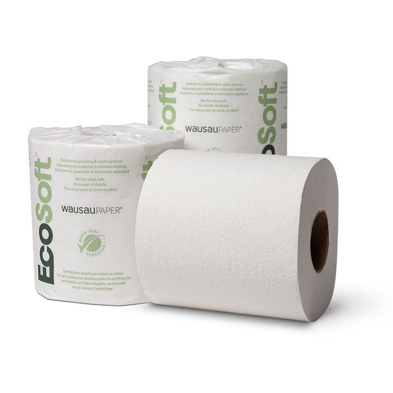 1-Ply EcoSoft Green Seal Toilet Paper Roll