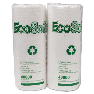 EcoSoft 2-Ply Household Paper Towel Rolls