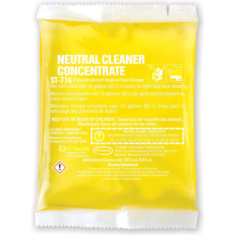One Packs ST-714 Neutral Cleaner Concentrate - (10) 8 fl. oz. Packets