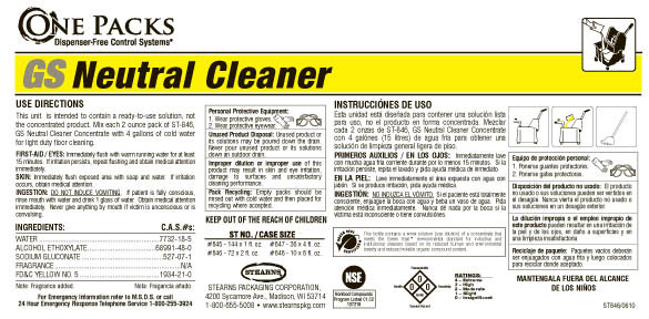 Stearns One Packs ST-845 GS Neutral Cleaner Concentrate - Label