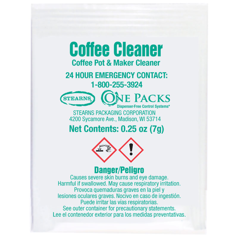 Stearns One Packs™ ST-808 Coffee Pot & Maker Cleaner - (100) .25 wt. oz. Packets