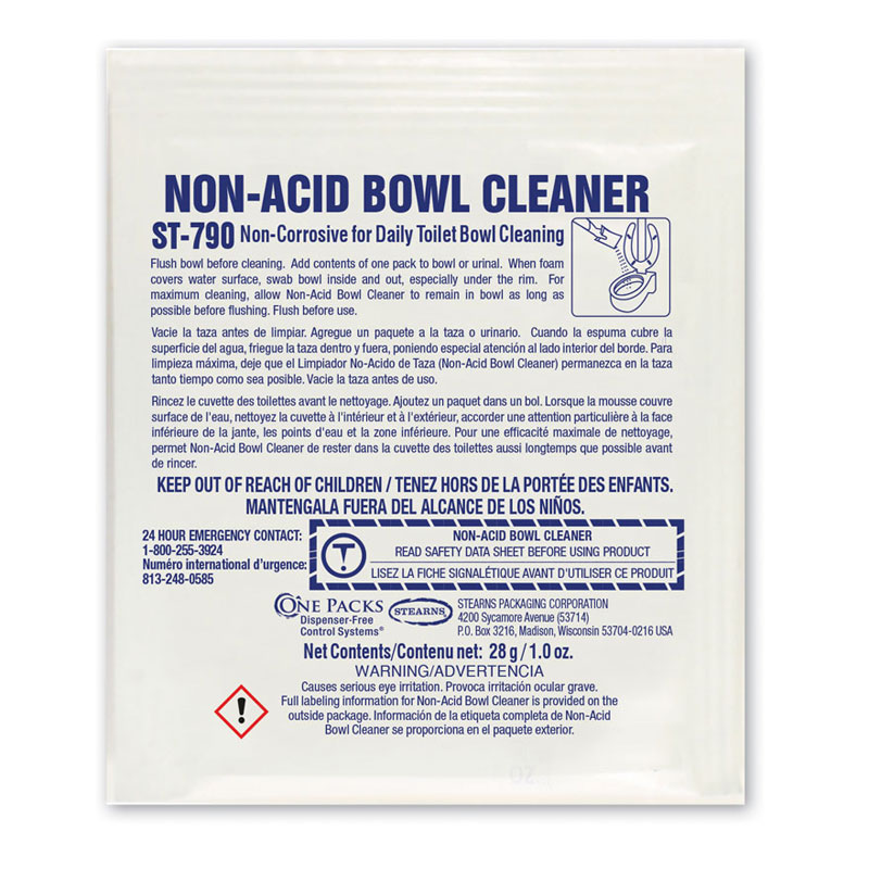 Stearns One Packs Powdered Non-Acid Toilet Bowl Cleaner - (72) 1 wt. oz. Packets