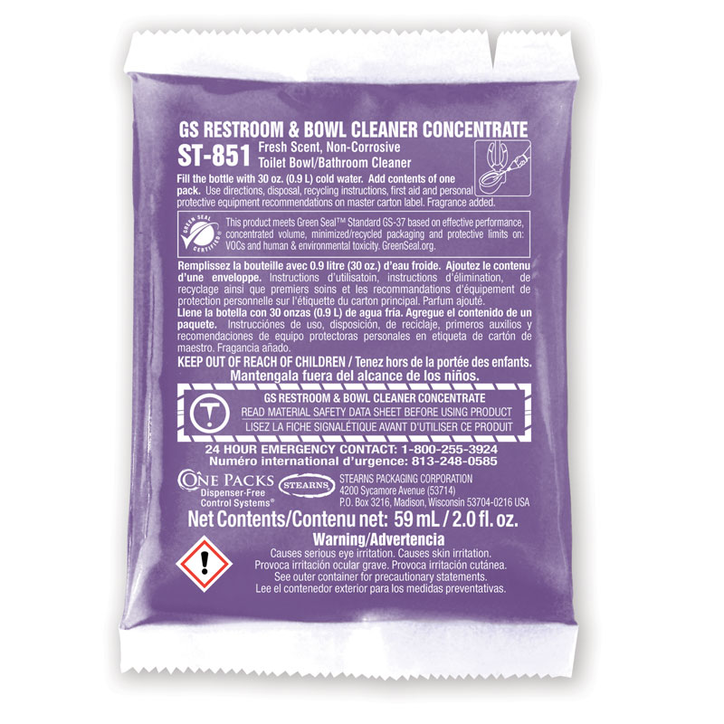 Stearns One Packs GS Restroom & Bowl Cleaner Liquid Concentrate - (10) 10 2 fl. oz. Packets
