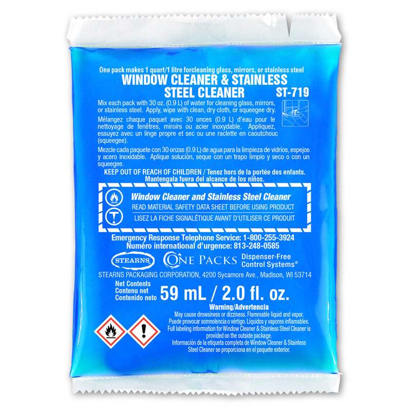 Stearns One Packs Glass Window & Stainless Steel Cleaner - (48) 2 fl. oz. Packets