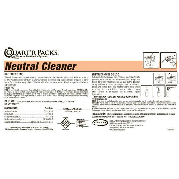 Stearns quart 39 r packs st 660 neutral floor cleaner for Floor labels