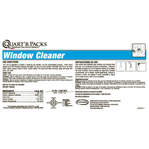 Stearns Quart'r Packs ST-670 Window Cleaner - Label