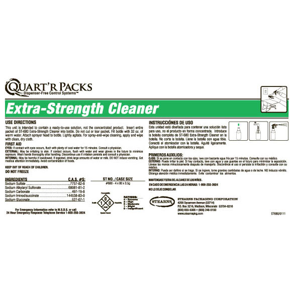 Stearns Quart'r Packs ST-680 Extra Strength Cleaner - Label