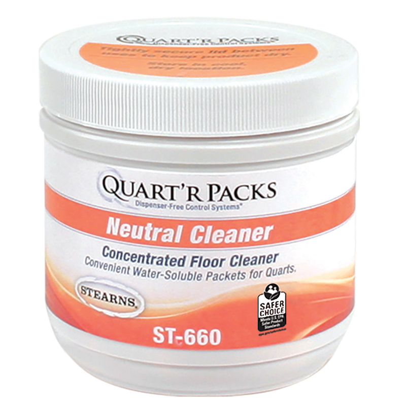 Stearns Quart'r Packs Neutral Floor Cleaner - (4) 90 x 1.5 g Containers